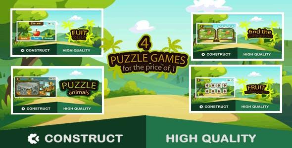 Puzzle Bundle 4 games - HTML5 Game (capx)