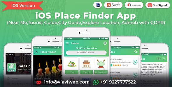 iOS Place Finder (Near Me,Tourist Guide,City Guide,Explore Location, Admob with GDPR)