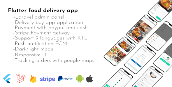 Flutter food delivery with laravel admin dashboard