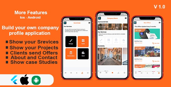 Flutter Company Profile Application - IOS and Android - CodeCanyon Item for Sale