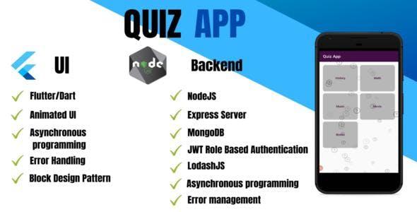 FLUTTER QUIZ APP -  UI with NodeJs Backend Full Package