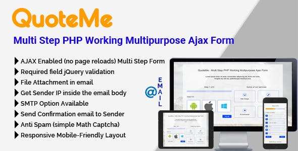 QuoteMe Multi Step PHP Working Multipurpose Ajax Form