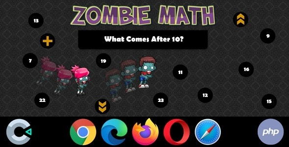 Zombie Math - HTML5 Game with Backend (Construct 3 | Construct 2 | c3p | capx | php) - CodeCanyon Item for Sale
