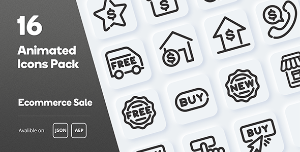 Ecommerce Sale Animated Icons Pack