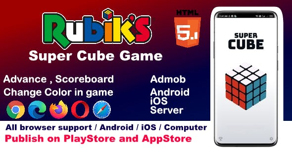 HTML5 3D Rubiks Super Cube Game ( Android, iOS, Computer Browser Game )