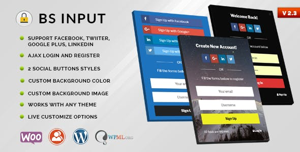 BS Input - Social Login and Register Popup With Shortcode & Site Locker