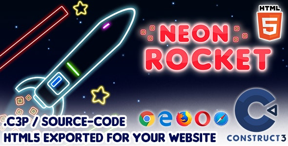 Neon Rocket - HTML5 Construct 3 Game with Source-code - CodeCanyon Item for Sale