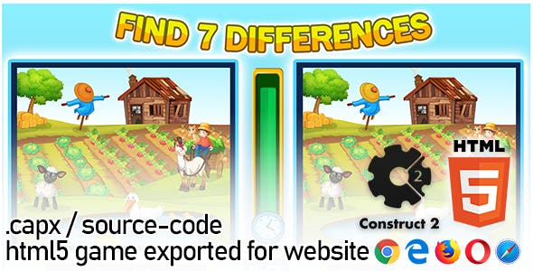 Find Seven Differences Game - Construct 2 Source Code and HTML5 Files