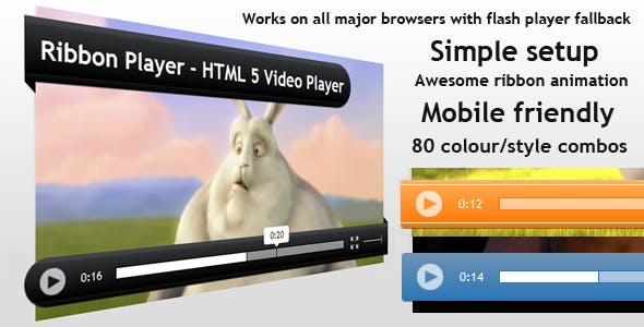 Ribbon Player - HTML5 Animated Video Player