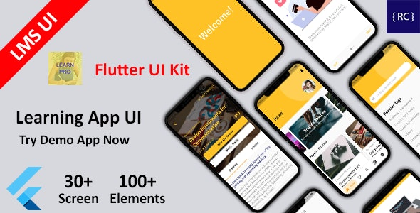 Flutter LMS App UI Kit - Learning App UI in Flutter - Course App UI Template in Flutter - CodeCanyon Item for Sale