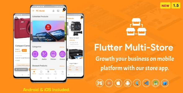 Flutter Multi-Store ( Ecommerce Mobile App for iOS & Android with same backend ) 1.5