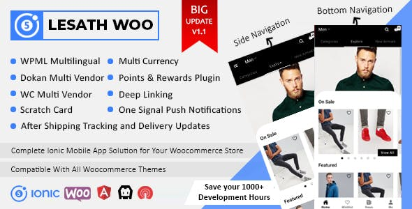Lesath - Ionic 5 Woocommerce Full Mobile App Solution for iOS & Android with App Builder Plugin