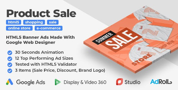 Multipurpose Product Sale Animated HTML5 Banner Ad Templates (GWD)