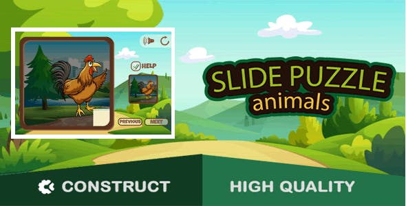 Animals Slide Puzzle - HTML5 Game (capx)