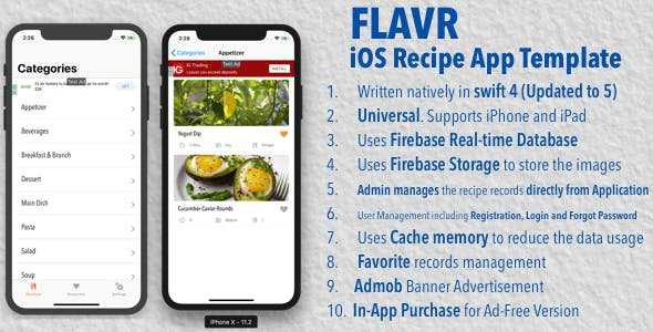 Flavr - iOS Recipe App Universal Template