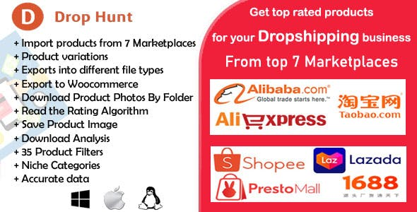Drop Hunt- Choose top Products from 7 Marketplaces for Dropshipping Business
