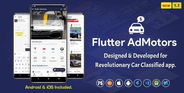 Flutter AdMotors For Car Classified BuySell iOS and Android App with Chat ( 1.1 ) - CodeCanyon Item for Sale