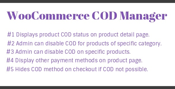 WooCommerce Cod Manager - CodeCanyon Item for Sale