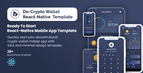 De-Crpyto Wallet - Cryptocurrency Mobile App React Native Template - CodeCanyon Item for Sale