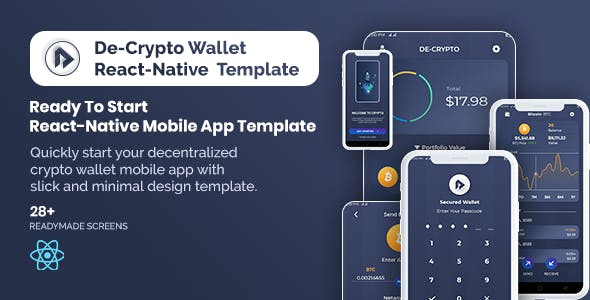 De-Crpyto Wallet - Cryptocurrency Mobile App React Native Template