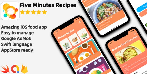 Five Minutes Recipes - iOS Food Recipes Application