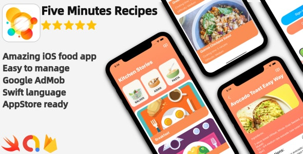 Five Minutes Recipes - iOS Food Recipes Application - CodeCanyon Item for Sale