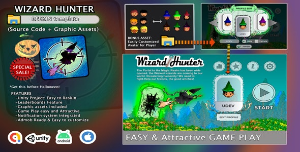 Wizard Hunter - Halloween Unity Game Template - CodeCanyon Item for Sale