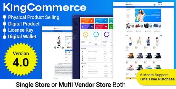 KingCommerce - All in One Single and Multivendor Eommerce Business Management System