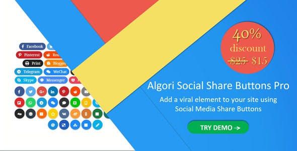 Algori Social Share Buttons Pro for WordPress Gutenberg