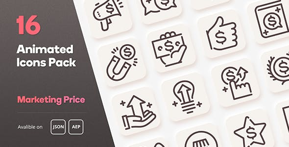 Marketing Price Animated Icons Pack - Lottie Json SVG