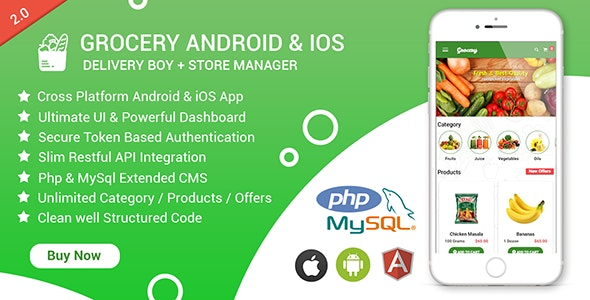 Grocery Android & iOS App with Delivery Boy and Store Manager App With CMS - CodeCanyon Item for Sale