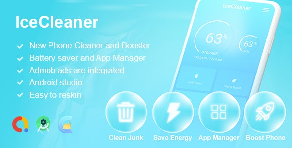 IceCleaner - Phone Cleaner - Booster - Battery Saver - App Manager - CodeCanyon Item for Sale