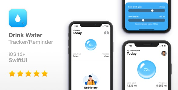 Drink Water - Reminder and Tracker - iOS SwiftUI - CodeCanyon Item for Sale