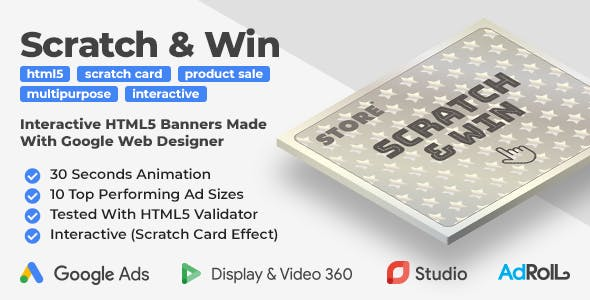 Scratch & Win - Interactive Product Sale HTML5 Banner Ad Templates (GWD)