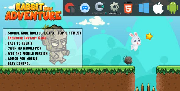 Rabbit Run Adventure - HTML5 Game - Mobile, Facebook Instant Game & Web (HTML5, CAPX & C3P)
