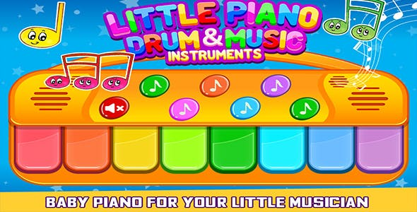 Little Piano Drum And Music Game For Kids + Admob + Android Studio
