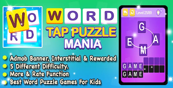 Word Tap + Trivia Word Puzzle Game For Kids + Android + Ready For Publish