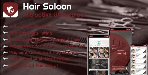 Hair Saloon (iOS) Template - Book Appointment for different Categories.