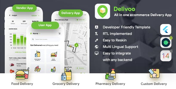 eCommerce Flutter App Template | 3 Apps | User App + Vendor App + Delivery App | Delivoo