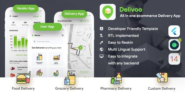 All in one ecommerce Flutter App Template| User App + Vendor App + Delivery App | Delivoo