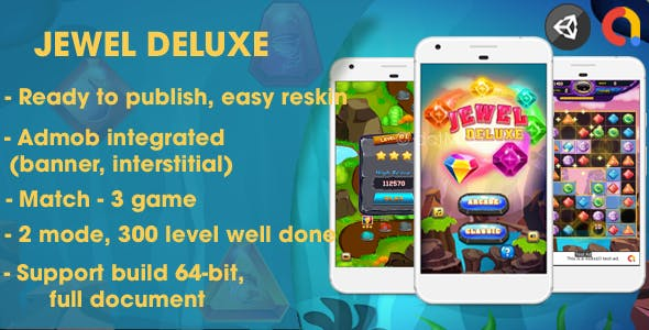 Jewel Deluxe - Unity Complete Project (Android + iOS + AdMob)