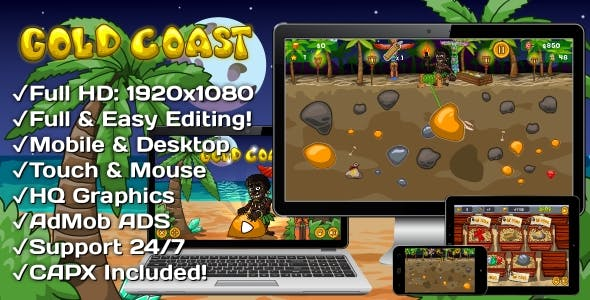 Gold Coast - HTML5 Game 20 Levels + Mobile Version! (Construct 3 | Construct 2 | Capx)