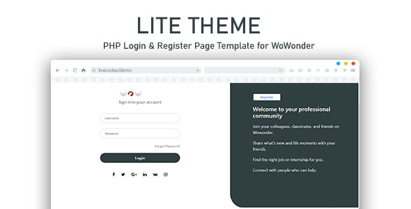 Lite PHP Login & Register Page Template for WoWonder