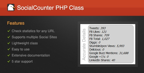 SocialCounter PHP Class - Social Statistics! - CodeCanyon Item for Sale