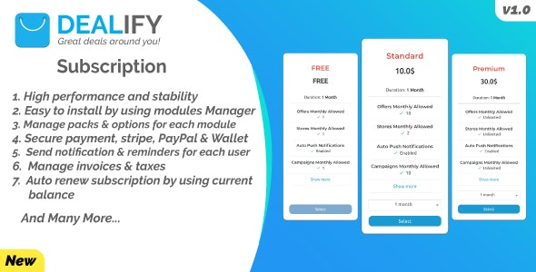 Dealify Subscription Plugin - PayPal, Stripe & Billing Manager - CodeCanyon Item for Sale