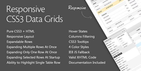 Responsive CSS3 Data Grids