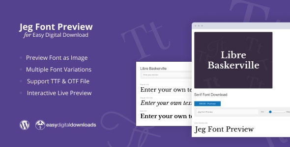 Jeg Font Preview - Easy Digital Downloads Extension WordPress Plugin - CodeCanyon Item for Sale