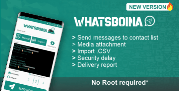 WhatsBoina - Whatsapp Marketing Bulk and Chatbot Android - CodeCanyon Item for Sale
