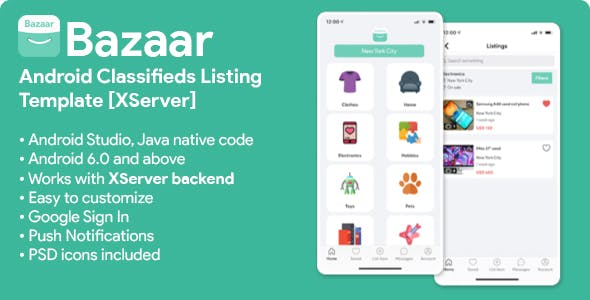 Bazaar | Android Social Listings/Classifieds Shopping Application [XServer]