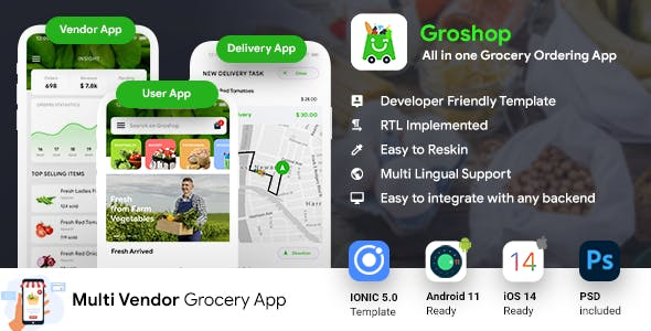 Grocery Delivery App | Grocery Ordering Android + iOS App Template | 3 Apps | IONIC 5 | Groshop